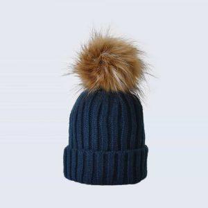 Navy Tiny Tots Hat with Brown Faux Fur Pom Pom