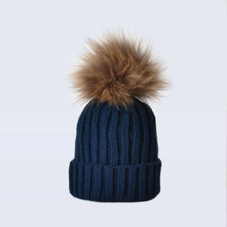 Navy Tiny Tots Hat with Brown Fur Pom Pom