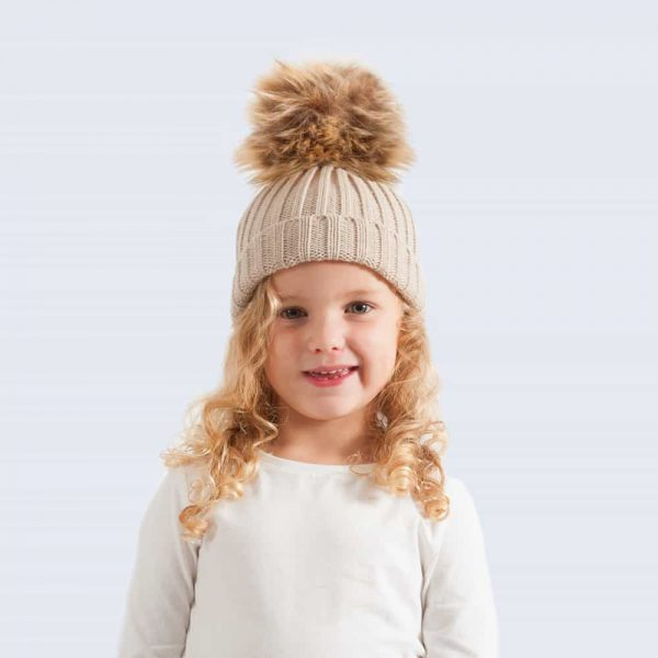 Oatmeal Tiny Tots Hat with Brown Faux Fur Pom Pom