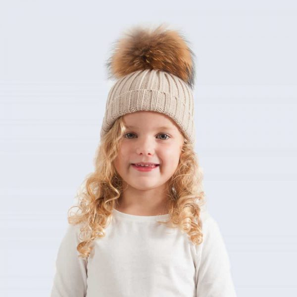 Oatmeal Tiny Tots Hat with Brown Fur Pom Pom