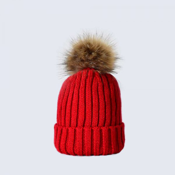 Scarlet Tiny Tots Hat with Brown Faux Fur Pom Pom