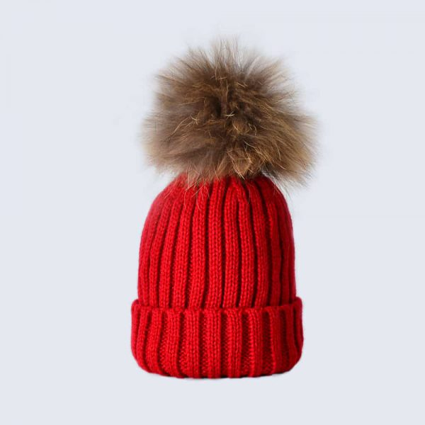 Scarlet Tots Hat with Brown Fur Pom Pom