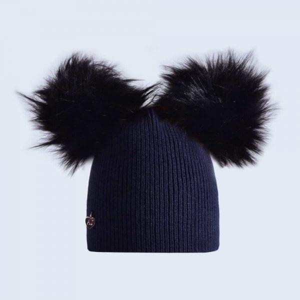 Navy Hat with Black Faux Fur Poms » Amelia Jane London 784028b4873