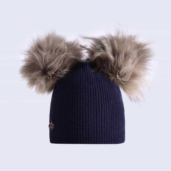0f9372df405 Navy Hat with Grey Faux Fur Poms » Amelia Jane London