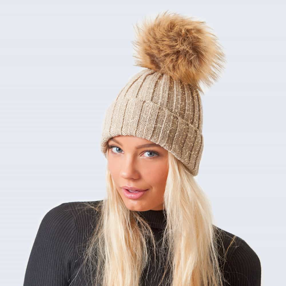 Sparkle Hat Oatmeal and Gold with Brown Faux Fur Pom Pom