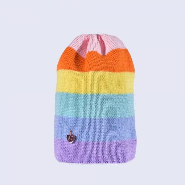 Rainbow Pastel Striped Beanie » Amelia Jane London a33072f8209