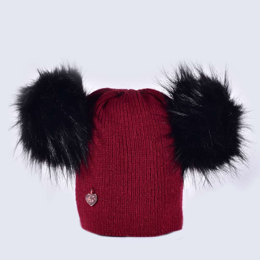 269bc183f57 Burgundy Hat with Black Faux Fur Poms » Amelia Jane London
