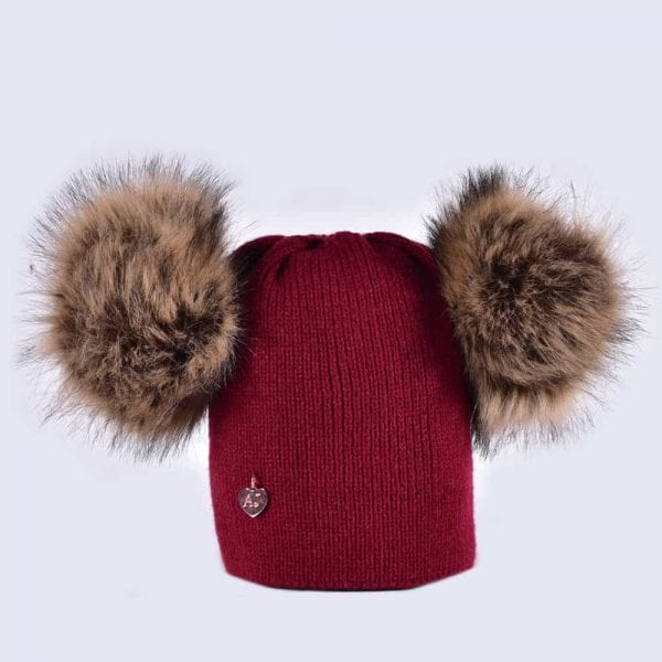 f6584a0a24e Burgundy Hat with Brown Faux Fur Poms » Amelia Jane London