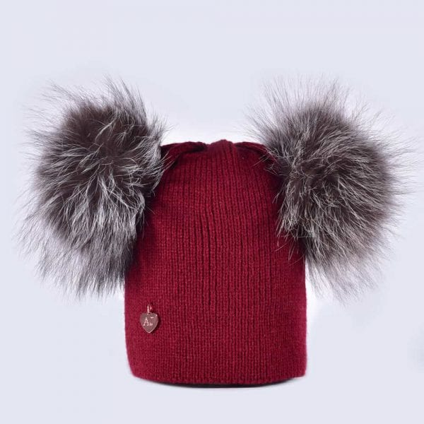 7347b7de184 Burgundy Hat with Silver Fur Poms » Amelia Jane London
