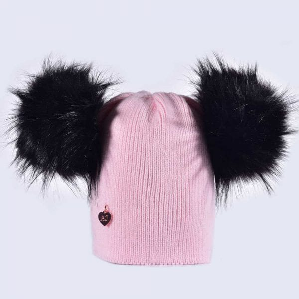 Candy Pink Hat with Black Faux Fur Poms » Amelia Jane London 11d5d446b9d
