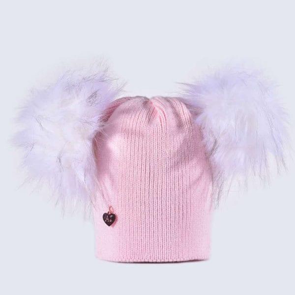 713d900b264 Candy Pink Hat with White Faux Fur Poms » Amelia Jane London