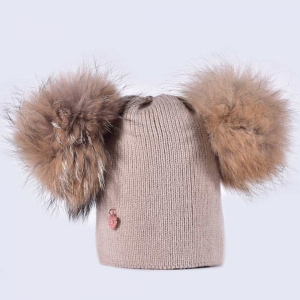 5e0e25f8 Oatmeal Hat with Brown Fur Poms