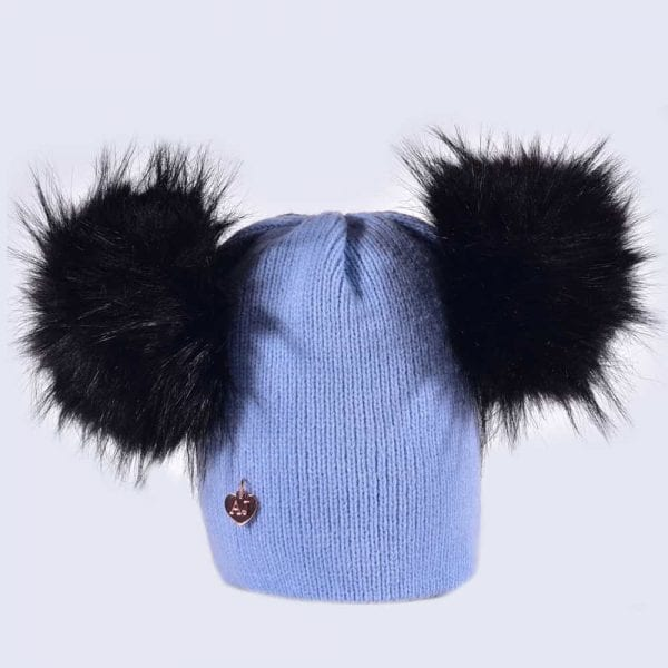 21dd5ed5237 Sky Blue Hat with Black Faux Fur Poms » Amelia Jane London