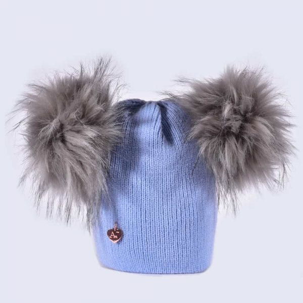 69b1dc676c1 Sky Blue Hat with Grey Faux Fur Poms » Amelia Jane London