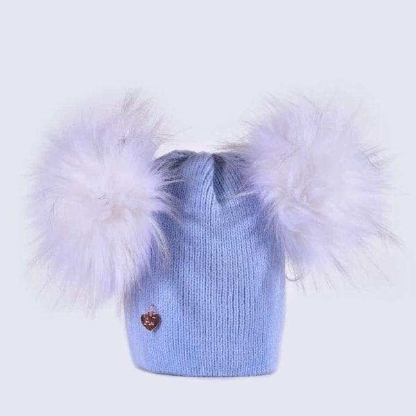 a2752531fc9 Sky Blue Hat with White Faux Fur Poms » Amelia Jane London