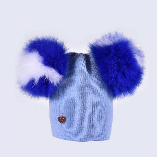 Sky Blue Double Pom Pom Hat with Striped Fur Pom in Royal Blue and ... 63932370d5d