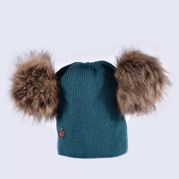 da90087687b Teal Hat with Brown Faux Fur Poms » Amelia Jane London