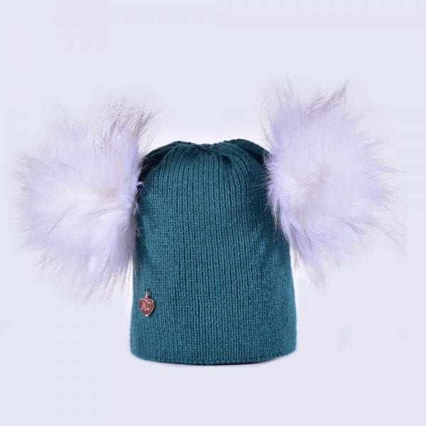 b920ba554e1 Teal Hat with White Faux Fur Poms » Amelia Jane London