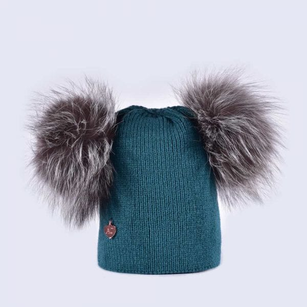 00c05499eb9 Teal Hat with Silver Fur Poms » Amelia Jane London