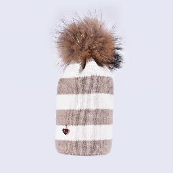 8d1c1ec5 Oatmeal and White Striped Beanie