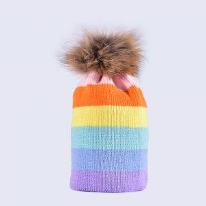 a226e527d9e Striped   Rainbow Fur Pom Pom Hats » Amelia Jane London