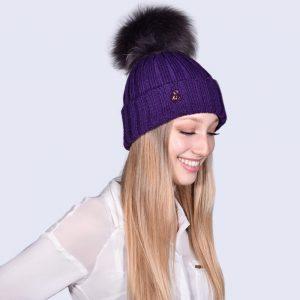 74f5315df6d4d Deep Purple Hat with Brown Fur Pom. £30.00