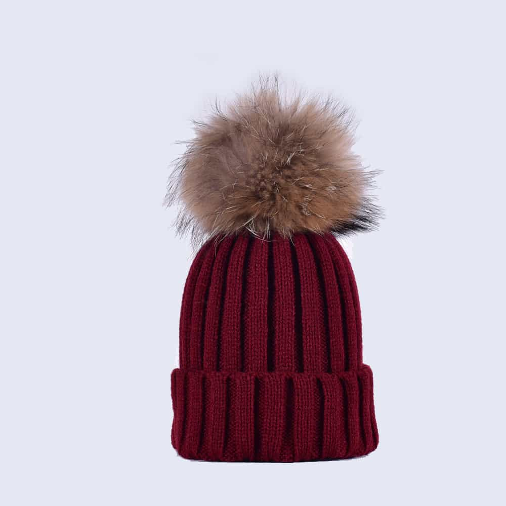 bcc0dc35ce9 Burgundy Hat with Black Fur Pom. £30.00