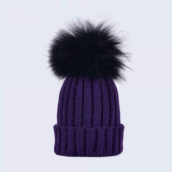Deep Purple Hat with Black Fur Pom » Amelia Jane London 4a9156ef2af
