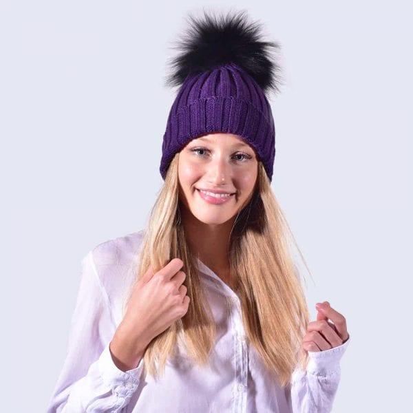 27d075f16 Deep Purple Hat with Black Fur Pom