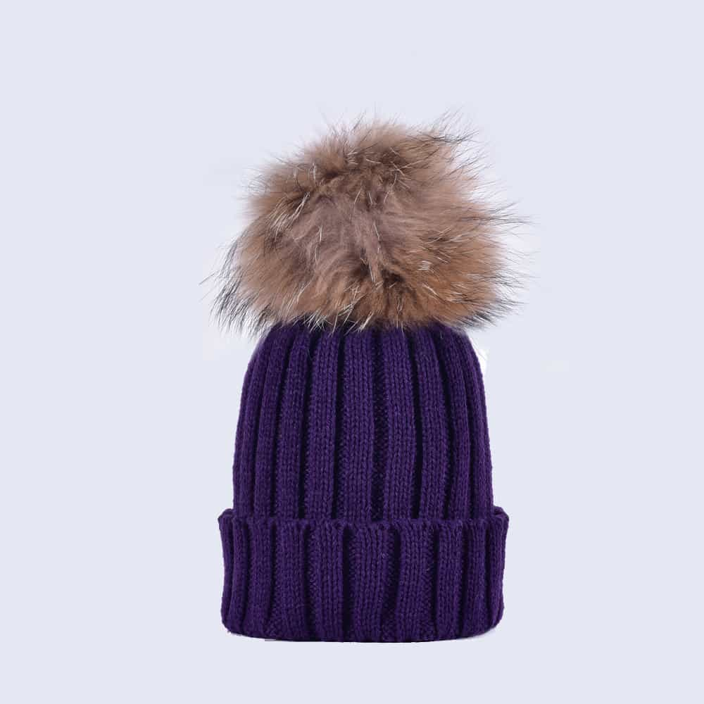 66f83902c04 Deep Purple Hat with Black Fur Pom. £30.00