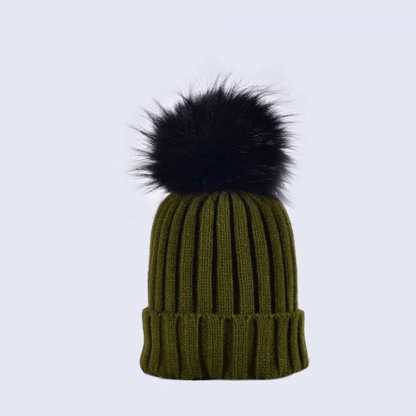 Khaki Green Hat with Black Faux Fur Pom » Amelia Jane London 029fd40220c
