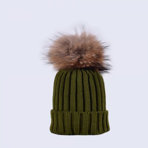 Khaki Green Hat with Brown Fur Pom » Amelia Jane London 51455068d72