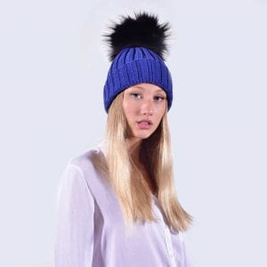 88b127835 Royal Blue Hat with Black Faux Fur Pom