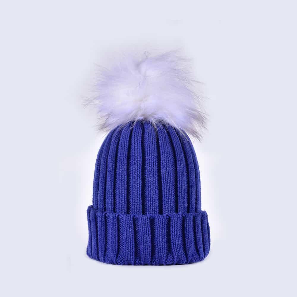 15a78677f45 Royal Blue Hat with White Faux Fur Pom » Amelia Jane London