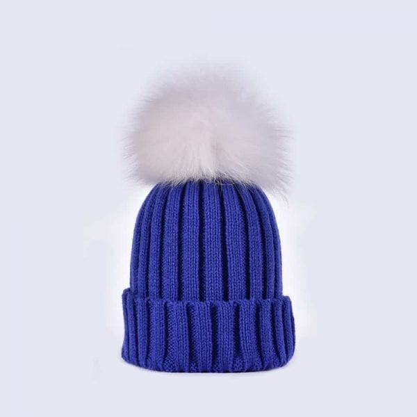 Royal Blue Hat with White Fur Pom » Amelia Jane London 24665a3a1ad